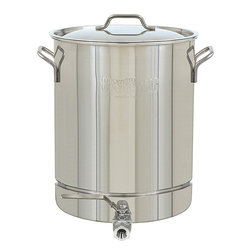 Bayou Classic - Bayou Classic Stainless Steel 10-Gallon Spigot Pot - This Bayou Classic 10-gallon Spigot Pot features a durable stainless steel construction and is oven safe to 1000 degrees Fahrenheit. This pot includes a lid and a side calibration scale in quarts and gallons.