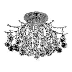 "Joshua Marshal Home Collection - 3-Light 16"" Chrome Ceiling Flush Mount Contour Design - This three light 16"" chrome celing flush mount will compliment any home! It features a combination of 100% genuine Swarovski Spectra 14mm crystals (134 pieces) and European 30% lead 40mm ball crystals (43 pieces)"