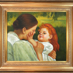 overstockArt.com - Mary Cassatt - Maternal Caress Oil Painting - Hand painted oil reproduction of a famous Mary Cassatt painting, Maternal Caress. The original masterpiece was created in the 1800's. Today it has been carefully recreated detail-by-detail, color-by-color to near perfection. You can see the attention given the little girl's happy face with a loving look from her mother. Mary Cassatt was an American painter and printmaker. She lived much of her adult life in France befriending Degas and exhibiting with other Impressionists. Cassatt often portrayed the social and private lives of women, with a focus on the intimate bonds between mothers and children. This painting is sure to be admired by friends and family in any room of your home.