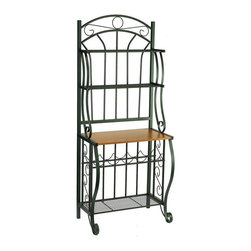 Old Dutch International - 68 in. Bakers Rack w Wine Rack - Crafted of steel in a charming forest green powder coat finish, this classic baker's rack will be an appealing addition to any decor. Featuring multiple shelves and a scrolled design, the rack has a built-in wine rack to keep your favorite vino close at hand. Wood finished particle board counter to display plants and picture frames. Two upper display shelves. Large bottom shelf. Five bottle wine rack. Made from powder coated steel. Forest green color. Minimal assembly required. 27.5 in. W x 16 in. D x 68 in. H (29.6 lbs.)