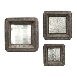 Jezant Mirror Tray Wall Decor - Set of 3 - This set of three mirrored trays are designed to hang , adding warm vintage charm to your wall decor. With an antique mirror finish that reflects light and offers an elegant patina, these trays area a great way to add depth to your room.