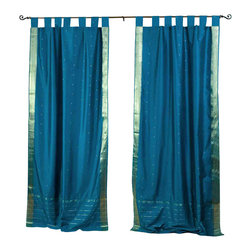 Indian Selections - Pair of Turquoise Tab Top Sheer Sari Curtains, 43 X 84 In. - Size of each curtain: 43 Inches wide X 84 Inches drop