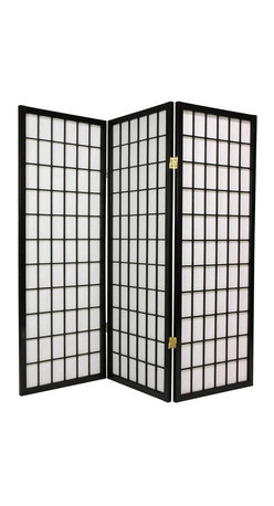 Oriental Unlimited - 4 ft. Tall Window Pane Shoji Screen (3 Panels - Finish: 3 Panels / RosewoodBreathe life into a neglected hard to decorate corner with this enchanting black finished window pane Shoji screen. This paneled piece features white rice paper shades that filter light while concealing what lies behind them. Brass finished hinges bend both ways to maximize display angles. Screens may vary slightly in color. The new 48 in. window pane Shoji screen is a miniature counterpart to our popular full size window pane Shoji screen. The low height is perfect for hiding unsightly areas, fireplaces, kids' play areas or simply for adding a new design element to your space. The window pane design is the most traditional of shoji screens and complements a variety of decors. Shade is strong. Fiber reinforced, pressed pulp rice paper allows diffused light and provides complete privacy. Crafted from durable and lightweight Scandinavian Spruce. Panels are constructed using Asian style mortise and tenon joinery. Lacquered brass, 2-way hinges mean you can bend the panels in either direction. Black finish. Assembly required. Each panel: approximately 17.5 in. L x .75 in. W x 48 in. H