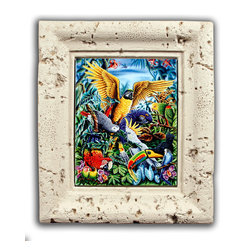"Tile Art Gallery - ""Birds of the Tropics"" - Coral Framed Ceramic Tile Mural - This gorgeous work of art was created by artist Michael Gardner and is appropriately titled ""Birds of the Tropics."" Through the process of dye sublimation, the image has been fused onto ceramic tile and framed in a beautiful weathered coral poly-resin frame ."