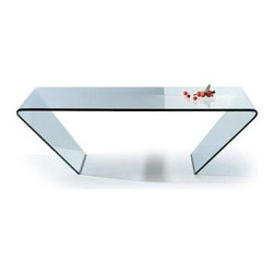 Modern clear bent glass rectangular coffee table Mattoni - Coffee table Mattoni is made of single piece clear tempered bent glass. It is perfectly designed to suit any modern interior.