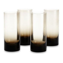 Kenneth Cole Reaction Home - Kenneth Cole Reaction Home Ludlow Highball Glasses in Grey (Set of 4) - Surrounded by an air of mystery, these handcrafted Kenneth Cole Reaction Home Ludlow glasses are exotic and provide refreshing service for everything from cocktails to juice or soda.