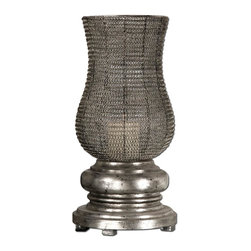 Uttermost - Rickma Silver, Candleholder Decorative Home Accessories - This statuesque candleholder features a heavily distressed, chestnut brown base with a woven metal globe finished in antiqued silver leaf.