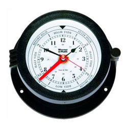 """Weems & Plath Bluewater Quartz Tide and Time Clock - The Bluewater Quartz Tide and Time Clock has a 3.75"""" dial, a 5.5"""" base and is 2.88"""" deep. It exhibits precision quartz clock and tide clock movement that averages the lunar tide cycle. It weighs 11 oz. The tide sector is calibrated for the east coast of the United States. It features a precision molded high impact black styrene case with a hinged, glare resistant matte finished bezel and glass crystal. A knurled brass locking lug is solidly constructed, making movement and battery access a snap. The modern splash resistant case is not susceptable to corrosion and requires little maintenance. Special features include: splash resistant """"O"""" ring seal; easy access hinged bezel; corrosion proof case; scratch resistant glass crystal; secure battery clip for open ocean security. It comes with complete instructions, mounting hardware, a fresh battery and a limited lifetime warranty."""