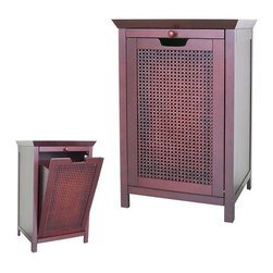 Elegant Home Fashions - Cane Hamper Cabinet - Simultaneously sleek and strong.The Cane Floor Hamper by Elite Home Fashions is perfect for a family with a lot of dirty laundry! With its espresso brown finish and hand woven panels, this hamper it will be sure to give your bathroom a sophisticated look that is also functional. Features: -Contemporary Style.-Hand woven panels.-Block feet.-MDF Construction.-Reddish brown finish.-Cane Collection.-Collection: Cane.-Distressed: No.Dimensions: -Overall Dimensions: 28.5'' H x 18 ''W 14 ''D.-Overall Product Weight: 32 lbs.Assembly: -Assembly required.
