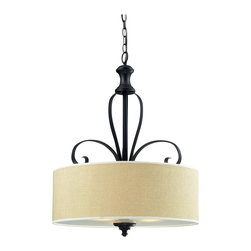 Three Light Burlap Shade Cr��_��_me/matte Back Drum Shade Pendant - A burlap shade and bold matte black hardware create a modernly styled fixture, with plenty of traditional charm. This pendant is truly the best of both the modern and traditionally styles of lighting decor.