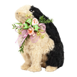 Small Black and White Sisal Rabbit with Spring Silk Floral - Breathe new life into spring by adding this black and white sisal rabbit to your decor. A bouquet of pink and green florals and ribbons adds a happy shot of color to your space. Perfect for a dining table, a buffet centerpiece or as a guest greeter on the entryway console.