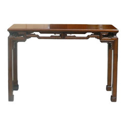 """Golden Lotus - Chinese Brown Ru Yi Apron Altar Table Desk - Dimensions:   w47.25"""" x d15"""" x h32.5"""""""
