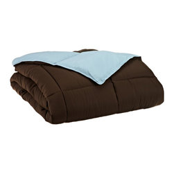 Down Alternative Chocolate and Sky Blue King Reversible Comforter - Down Alternative Chocolate and Sky Blue King Reversible Comforter
