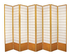 Oriental Furniture - 7 ft. Tall Window Pane Shoji Screen - Honey - 8 Panels - This extra tall Shoji Screen reworks a traditional Japanese design element for the modern home. The translucent Shoji rice paper is light and airy, perfect for unobtrusively dividing a room or providing privacy. The durable wooden frame is lightweight and portable, and includes a kick plate to guard against scuffs. This classic design is a cosmopolitan interior accent that integrates well with any style of decor.