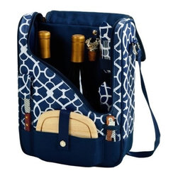 Picnic at Ascot - Pinot Wine and Cheese Cooler for Two, Trellis Blue by Picnic at Ascot - Our Pinot Wine and Cheese Cooler for Two in Trellis Blue by Picnic at Ascot is a compact Thermal Shield insulated cooler which includes acrylic glasses, napkins, corkscrew, bottle stopper, cheese knife, and hardwood cutting board. This unique set holds two bottles and can be used as a three bottle carrier with glasses removed.