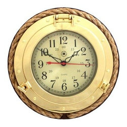Bey-Berk International Brass Porthole Clock with Rope on Solid Wood - Tarnish Pr - What's knot to like about the Bey-Berk International Brass Porthole Clock with Rope on Solid Wood T.P.? This traditional clock features an analog quartz-movement, with a solid brass, tarnish-proof porthole case, beveled glass, and genuine rope accents. Perfect gift for the boating fan. About Bey-Berk InternationalThis quality item is created by Bey-Berk. For more than 20 years, Bey-Berk International has crafted and hand-selected unique gifts and accessories from around the world to meet the demands of discerning customers. With its line of elegant and distinctive products, Bey-Berk has established itself as a leader in luxury accessories.