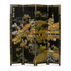 "Hand-Painted Chinoiserie Court Yard Design Floor Screen - A well-known Qing Dynasty painting of Chinese Spring Festival in the market is reproduced in the mural form with intricately hand-carved Chinoiserie. Hand painted in gold on black lacquered wood. Gold bamboo trees are softly painted on the back. Brass plated feet. (Each panel 18""W.)"