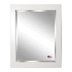 Rayne Mirrors - American Made Glossy White Beveled Wall Mirror - Hang this simply elegant white wall mirror above a vanity or on any empty wall for a stylish accent piece that fits into any decor.  Rayne's American Made standard of quality includes; metal reinforced frame corner  support, both vertical and horizontal hanging hardware installed and a manufacturers warranty.