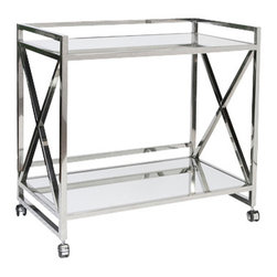 Worlds Away - Worlds Away Gerard Polished Stainless Steel Bar Cart - Worlds Away Gerard Polished Stainless Steel Bar Cart