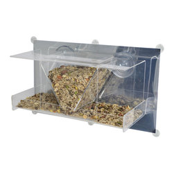 Songbird Essentials - Clear View Deluxe Hopper Mirrored Window Feeder - Up close and personal bird watching. Great for introducing children to birding. Easy-to-fill open tray holds 4 cups of seed. Covered roof provides all-weather feeding. Constructed of heavy, clear acrylic. 2 large suction cups attach securely to window.