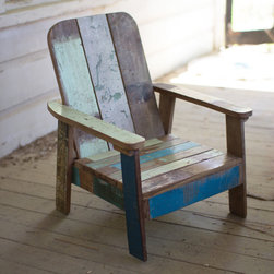 Recycled Teak Mini Lounger - Now the littles can have their own sun chair with this mini version. Made of recycled teak and washed in cool, distressed blues and greens, it's the chair you'll have forever (even when the kids have grown out of it).