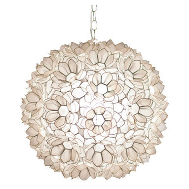 Capiz Shell Floral Jupiter Pendant - Reminiscent of a disco ball but ever so much more elegant, this pale pendant globe is crafted from shells that look like lotus petals. It will lend an aura of Zen-like calm to your dinners.