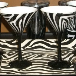 Zebra Martini Glasses and Tray - How fun would it be to serve your martinis in these zebra glasses? They would definitely raise the conviviality meter at the party.