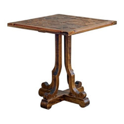 Uttermost - Uttermost 25596 Lucy - 26 Accent and End Table Distressed Honey Finish - Hand carved, plantation-grown mahogany wood in distressed honey finish.