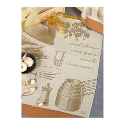 """Le Jacquard Francais - Le Jacquard Francais Poucheslet Aux Morilles Pepper Tea / Kitchen Towel 24 x 31"""" - It's time to indulge. Le Jacquard Francais continues to weave its recipes! Damask fabric. 100% Pure cotton colored warp and weft."""