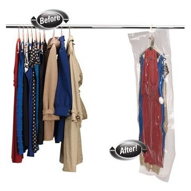 Household Essentials - MightyStor Dress Hanging Bag, Extra-Large 1-piece, Clear - Our MightyStor Vacuum Bags is the safe way to compactly store and protect your favorite things, creating instant space in your closet, wardrobe, or on the go. Air-tight, water-tight, and reusable, these bags are storage innovation when and where you need them most.