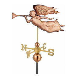G.D. - Good Directions Angel Weather Vane - Polished Copper - From a mid 1800s design (but originating earlier), Angel Gabriel trumpets good tidings over the rooftop of your house, barn, garage, or cupola. Our Good Directions' artisans use Old World techniques to handcraft this fully functional, standard-size weathervane that's unsurpassed in style, quality and durability. A great gift for folk art enthusiasts!