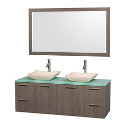 "Wyndham Collection - Amare 60"" Grey Oak Double Sink Vanity Set w/ Green Glass Top & 58"" Mirror - Modern clean lines and a truly elegant design aesthetic meet affordability in the Wyndham Collection Amare Vanity. Available with green glass or pure white man-made stone counters, and featuring soft close door hinges and drawer glides, you'll never hear a noisy door again! Meticulously finished with brushed Chrome hardware, the attention to detail on this elegant contemporary vanity is unrivalled."