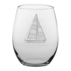 Rolf Glass - Sailboat Tumbler, Clear, 21 Oz. - The important thing isnt where you are going, its staying in motion. What better way to keep afloat than with our sailboat collection. You can almost feel the wind in your hair, while you sip on a refreshing cocktail out of these double etched designs.  Made in USA.