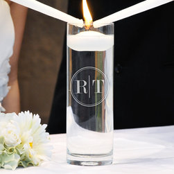 "Cathy's Concepts - Circle Monogram Floating Unity Candle - Let your love float above the rest with our elegant and unique floating candle in personalized vase. Custom etched with your initials in a modern design, our circle monogram unity candle is ideal for both your wedding ceremony and new home decor. * Dimensions of vase: H:9.5"" W: 4"" * Candle measures: 3"" * Custom engraved on hand blown glass"
