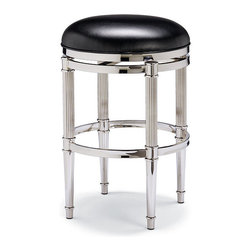"Frontgate - Birmingham Backless Counter Stool (26""H seat) - Topped with plush seat covered in supple top-grain leather. 360° swivel for easy access. Nonmarring floor glides protect floors. The Birmingham Backless Counter-height Stool gives a traditional design a twist of contemporary. Crafted of tubular steel, this stool has classic reeded legs that contrast with its modern nickel-plated finish.  . 360 degrees swivel for easy access .  ."