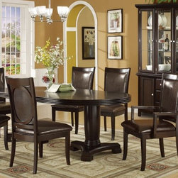 7 Pieces Formal Espresso Finish Wood Dining Table Set - Set Includes 1 Dining Table, 4 Side Chair and 2 Arm Chair