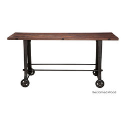 Nuevo Living - V17 Bar Table, Reclaimed Wood Top - Roll out the barrel and roll in this bar table. A cast iron base will never buckle under the pressure, so put it to the test in the home office or use it as bar-height dining table. Either way, you've got the blues on the run when this industrial-chic table comes rolling home.