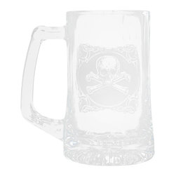 """Crystal Imagery, Inc. - Skull and Cross Bones Beer Mug Set, Engraved Barware Mancave Gifts - Engraved skull and cross bones beer mug is a perfect cool gift idea for guys. Rock and roll style beer mug. Bad to the bone beer mug is what you have with this skull and bones beer mug. Deeply carved using our sand carving technique, each of our custom beer mugs is meticulously custom made to order making it the perfect gift for those seeking unique gift ideas for beer lovers - men and women alike. At 5.75"""" high x 3"""" wide, our beer mugs and glasses hold 15 oz. A set of these etched, engraved beer mugs will be the favorite gift at any special gift giving occasion. Dishwasher safe. SOLD AS SET OF 4."""