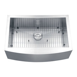 """Ruvati - RVH9100 Apron Front Stainless Steel 30"""" Kitchen Sink Single Bowl - Elegant, apron-front farmhouse kitchen sinks are a bold addition to any kitchen. Deep, rectangular bowls with bottom drain grooves and a curved apron front define the Verona series.; 16 gauge premium 304 grade stainless steel (18/10 Chromium/Nickel); Luxurious satin finish - Easy to clean and long-lasting; Heavy duty sound guard padding and undercoating; Ruvati Limited Lifetime Warranty; Weight: 60 lbs; Bowl Depth: 10""""; Dimensions: Exterior: 30"""" x 21""""; Interior: 28"""" x 16"""""""