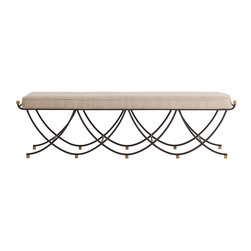 Felice Iron/Brass/Linen Bench - Classical revival design elements of the French Empire and English Regency periods combine with modern-day comfort in the Felice Bench, a seating option that will take pride of place in a transitional or traditional interior. Mixed metals form a romantic scalloped design with curving supports of black iron accented by cube-shaped feet and finials in tawny brushed brass. A single natural linen cushion with neat piped edges makes the fantasy of the metal bench more inviting.