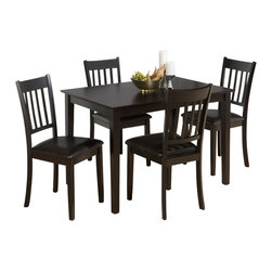 Jofran - Jofran 891 Series 5 Piece Casual Dining Table Set in Merlot Finish - Jofran - Dining Sets - 891 - This Jofran Dining Set is constructed of Birch veneer and solid Asian hardwood in a Marin County Merlot finish. It includes a standard height dining table and four side chairs. With a contemporary design and faux leather seats, this Jofran Dining Set will