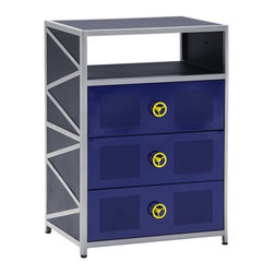 Powell - Powell Dune Buggy 3 Drawer Box X-810-409 - The Dune Buggy 3 Drawer Chest is perfect for adding fun storage to a child's bedroom. The chest features a bright colored exterior that is bold and visually appealing. Three deep drawers provide storage for clothing and accessories, helping your child keep their room clean. A spacious top is ideal for displaying a lamp and photo. The perfect addition to the Dune Buggy Bed. No Assembly Required.