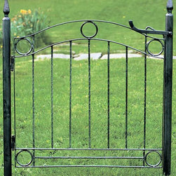 "Achla - Wrought Iron Fence Gate - Ornamental - This elegant ornamental wrought iron fence gate features sturdy 2"" diameter posts with integral finials and includes hinges and a latch.  The 36"" high gate is finished in deep black powder-coat to withstand the elements and look great, year after year. * All gates come with 2"" dia. posts, hinges and latchBlack powdercoat finish31 1/2in.W x 36in.H"