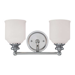 Savoy House - Melrose 2-Light Bath Bar - The Melrose Bath Collection boasts chic modern lines, white globes and a polished chrome finish. Style meets value!