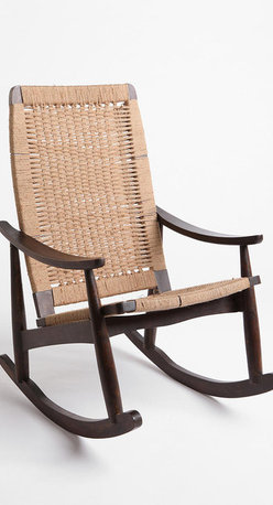Woven Rocker Chair - If I had my dream lake house, I would order up a bunch of these  rockers; they have that 1950s vibe that reminds one of visiting their grandparents or staying at a hotel in New Hampshire that hadn't been redecorated since then.