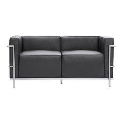 """Lemoderno - Grand Loveseat In Leather By Lemoderno, Black Leather - The LC3 Grand Loveseat frames are manufactured using high gauge stainless steel. The tubular frame is polished to a perfect mirror finish. This stainless steel frame will never chip or rust. We have captured the true radius for each of the frame corners. The webbing is 2"""" nylon with hooks to hold it the frames. Our chairs match the dimensions of the world renowned original brand. This item is a high quality reproduction of the original."""