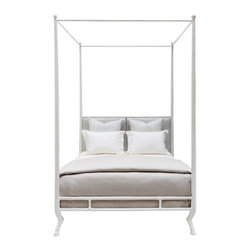 "Oly Studio - Oly Studio Faline Bed - The Oly Studio Faline bed awakens uber sophisticated style. Atop unexpected hoof feet, the refined metal frame features an upholstered headboard for a plush and inviting complement. 66""W x 87""D x 100""H; Available in two finishes; Cast resin and iron; Assembly required"