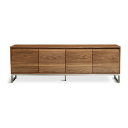 Gus Modern - Annex Credenza - Annex Credenza by Gus Modern. The new Annex Credenza by Gus Modern combines warm walnut and cool stainless steel to create a functional, modern storage unit. The Annex features integrated, recessed handles for a clean, minimal look. All designs in the Annex Series feature adjustable shelves and micro adjustable level feet.