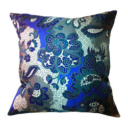 Frontgate - Fall Fiore Vintage Flower Indoor Throw Pillow - Pillow insert is duck/down and has a double cotton cover. 100% silk outer casing. Zipper enclosurePrinted and embellished with Swarovski® crystals. Our Fall Fiore Vintage Flower Indoor Throw Pillows will add a splash of vibrant detail to any room in your home. This pillow features tiny Swavorski crystals for a bit of brilliant sparkle.. . Zipper enclosure. Printed and embellished with Swarovski crystals. Assembled in the USA.