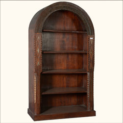 Native American Arched Reclaimed Wood 5-Shelf Open Display Bookcase - Add rustic elegance to any room with our Arched 5-Shelf Bookcase. This solid hardwood open display cabinet stands directly on the floor on a simple base.